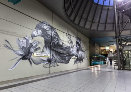 BACON paints a new subway station mural in Frankfurt, Germany
