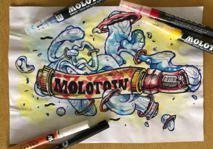 FORK4 Mixed Media x MOLOTOW ONE4ALL x MOLOTOW GRAFX AQUA INK MARKERS