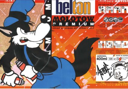 AZOTE painting MOLOTOW PREMIUM Spraypaint Labels with ONE4ALL Markers
