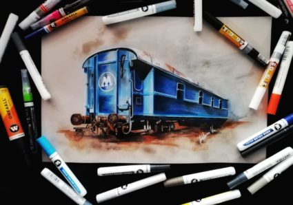 ANDREA VALVERDE ROJAS drawing the MOLOTOW Train