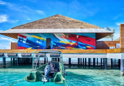 MADC painting ocean villas on the Maldives