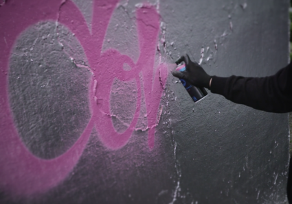 Graffiti artist RICO79 testing the COVERS ALL WATER-BASED Spray Paint