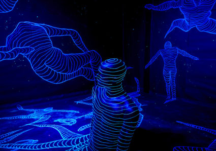 Fluorescent, neon colored light installation by Janne Parviainen