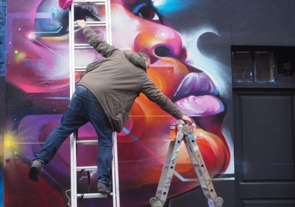 MR.CENZ painting at Hanbury Street London