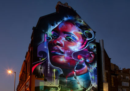 Lit up MR.CENZ Mural in South London