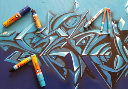 SKIZE2 painting 3D Graffiti Styles on Canvas