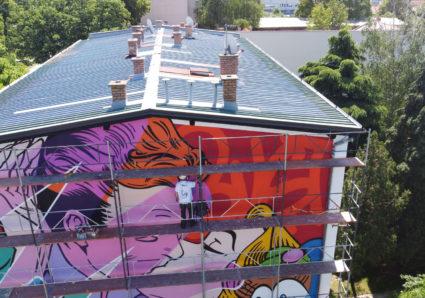 BUST ART painting a Mural in Vukovar, Croatia